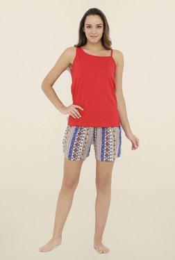 Heart 2 Heart Red & Blue Textured Shorts Set