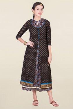 ANS Brown & Black Printed Dress