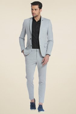 Jack & Jones Light Grey Solid Blazer