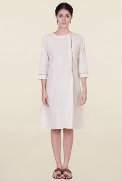 ANS Off White Knee Length Dress