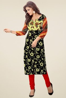 Salwar Studio Black & Yellow Floral Printed Kurti
