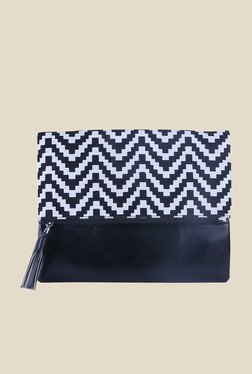 Tarusa Black Zig Zag Print Fold Over Clutch