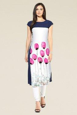 Indian Style Collection Blue & White Cap Sleeves Kurti
