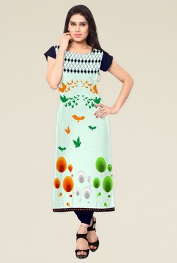 Indian Style Collection Mint Regular Fit Round Neck Kurti