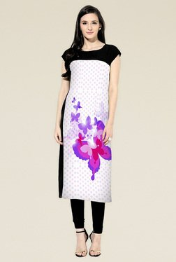 Indian Style Collection Black Printed Round Neck Kurti