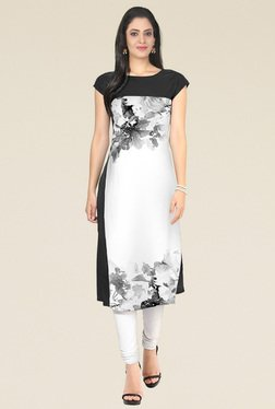 Indian Style Collection Black Floral Prints Kurti