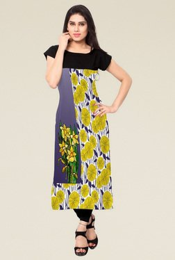 Indian Style Collection Black Cap Sleeves Printed Kurti
