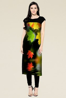 Indian Style Collection Black Printed Semi Stitched Kurti - Mp000000001123589