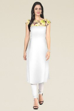 Indian Style Collection Off-White Round Neck Kurti