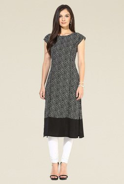 Indian Style Collection Black Semi Stitched Printed Kurti