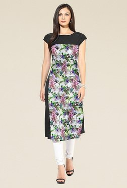 Indian Style Collection Black Printed Cap Sleeves Kurti