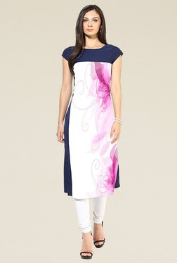 Indian Style Collection Violet & White Printed Kurti