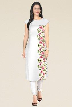 Indian Style Collection White Printed Semi Stitched Kurti