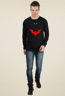 Sayitloud Black Round Neck Slim Fit Printed T-Shirt