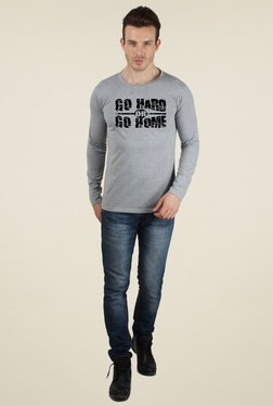 Sayitloud Grey Crew Neck Slim Fit T-Shirt