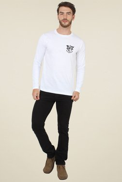 Sayitloud White Crew Neck Slim Fit T-Shirt