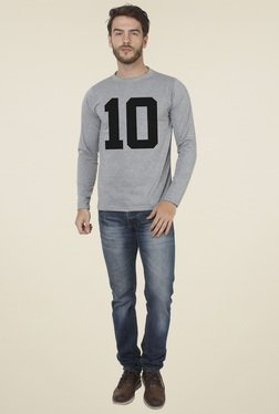 Sayitloud Grey Printed Crew Neck Slim Fit T-Shirt