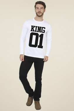 Sayitloud White Crew Neck Full Sleeves T-Shirt