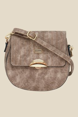 Esbeda Brown Textured Saddle Sling Bag
