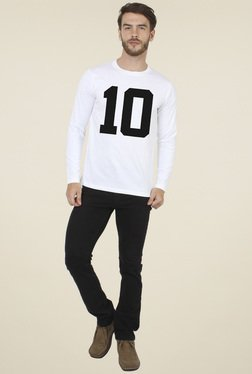 Sayitloud White Printed Crew Neck T-Shirt