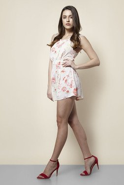 New Look Beige Floral Print Panel Playsuit