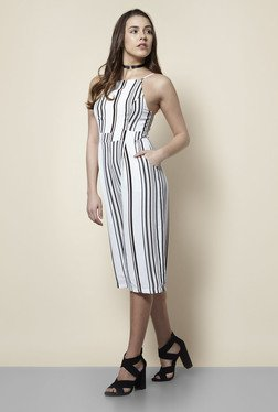 New Look White Striped Culotte Jumpsuit