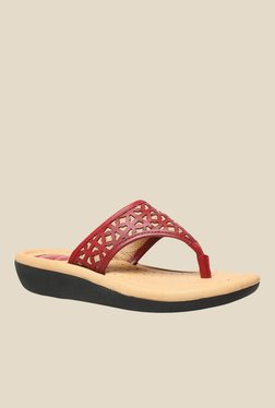 Scholl Laser Latin Red & Beige Thong Sandals