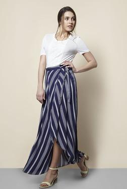 New Look Navy Striped Tie Waist Maxi Skirt