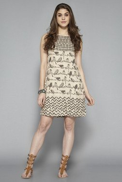 Bombay Paisley By Westside Beige Bird Printed Dress