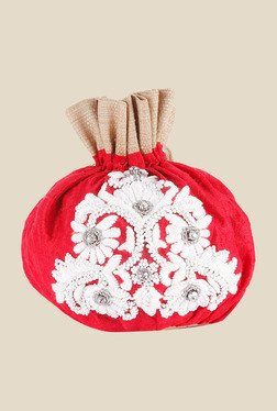Tarusa Red Embroidered Silk Potli