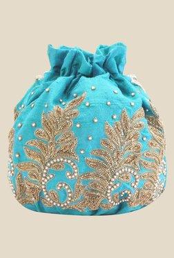 Tarusa Blue Tree Frame Zari Work Silk Potli