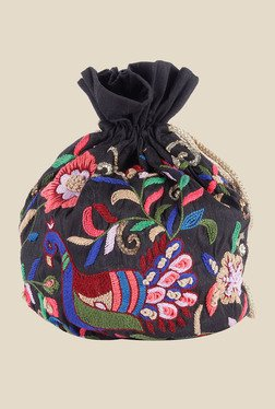 Tarusa Black Peacock Embroidered Silk Potli