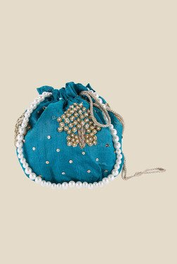 Tarusa Teal Blue Embroidered Silk Potli
