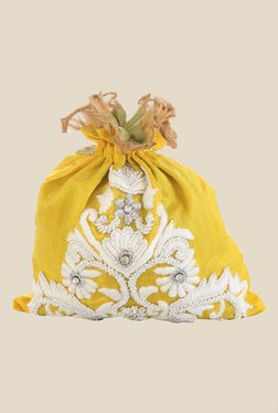 Tarusa Yellow Floral Embroidered Silk Potli