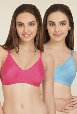 Tweens Pink & Turquoise Blue Cotton T-Shirt Bra (Pack Of 2)
