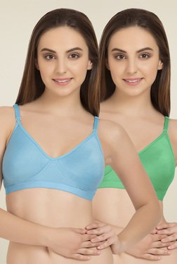 Tweens Light Blue & Green Cotton T-Shirt Bra (Pack Of 2)