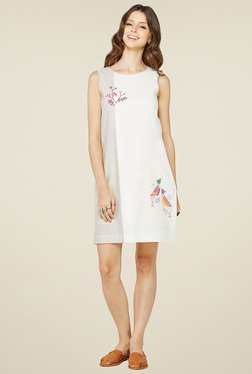 Global Desi Off-White Printed Regular Fit Dress