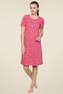 Zivame Dark Pink Round Neck Nighty