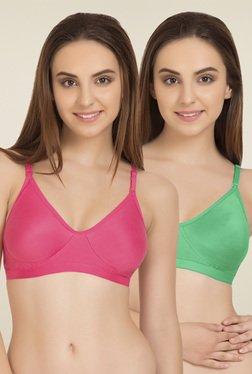 Tweens Green & Dark Pink Non Padded T-Shirt Bra (Pack Of 2)