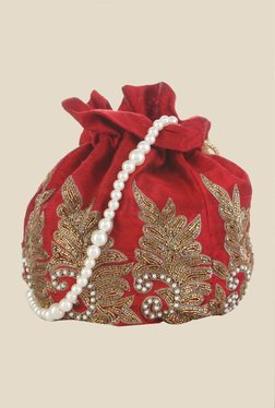 Tarusa Red Tree Frame Embroidered Silk Potli