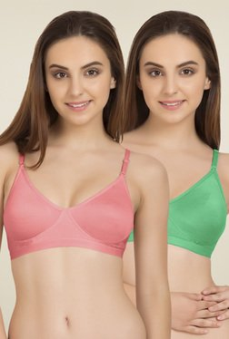 Tweens Baby Pink & Blue Cotton T-Shirt Bra (Pack Of 2)