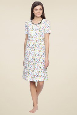 Zivame White Printed Round Neck Nighty