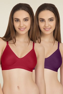 Tweens Red & Purple Non Padded T-Shirt Bra (Pack Of 2)