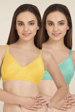 Tweens Yellow & Sea Green Cotton T-Shirt Bra (Pack Of 2)