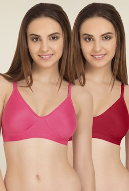 Tweens Dark Pink & Red Non Padded T-Shirt Bra (Pack Of 2)