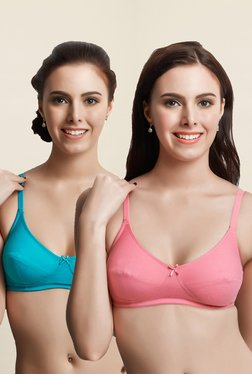 Libertina Pink & Turquoise Freedom Non Padded Bra(Pack Of 2)