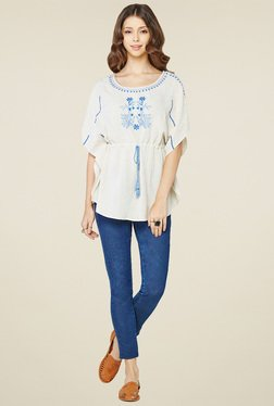 Global Desi White Embroidered Cotton Top