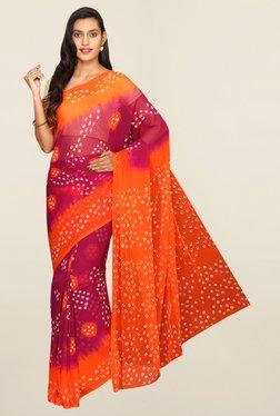 Pavecha's Maroon & Orange Bandhani Banarasi Chiffon Saree