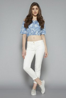 Nuon By Westside Blue Zina Off Shoulder Blouse