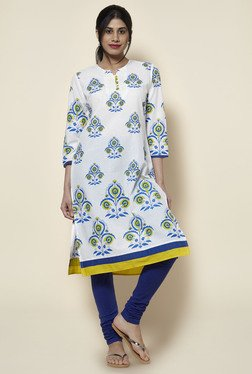 Zudio White & Blue Floral Print Kurta